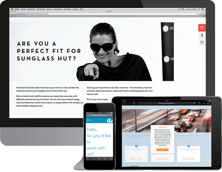 3 examples of realistic job previews: Sunglass Hut, du, flydubai