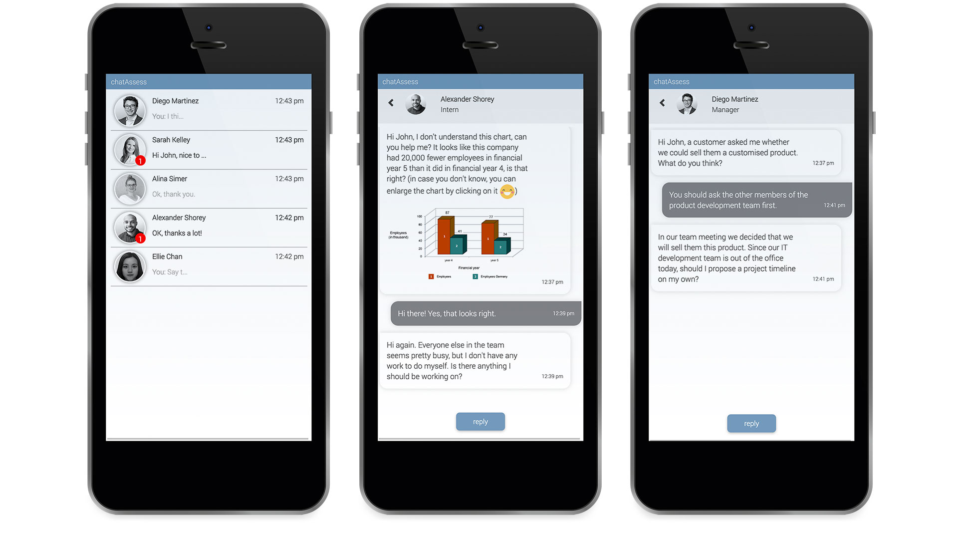 mobile screens gamified assessment chatAssess